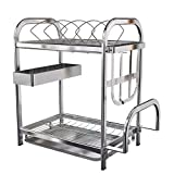 GZX 2-Tier 304 Stainless Steel Dish Drainer Kitchen Rack Cutlery Holder Glasses,Cups ,Bowls, Plates Detachable Tray PP(45.524.842.9cm, silver)
