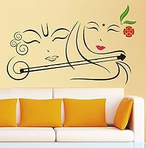 9259091aec3 Buy Decals Design  Radhe Krishna with Flute  Wall Sticker (PVC Vinyl ...