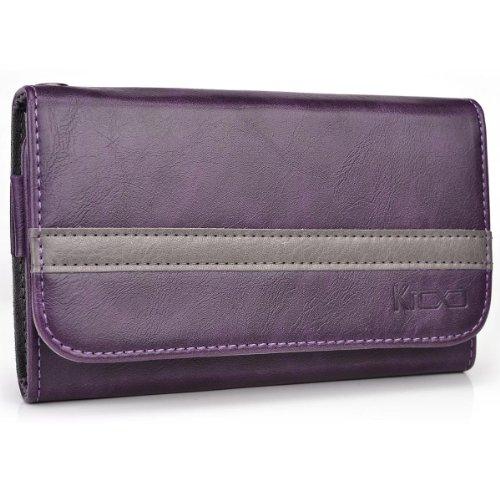 Purple - Grey Kroo Universal Smartphone Wallet Case with Belt Loop fits CAT B15