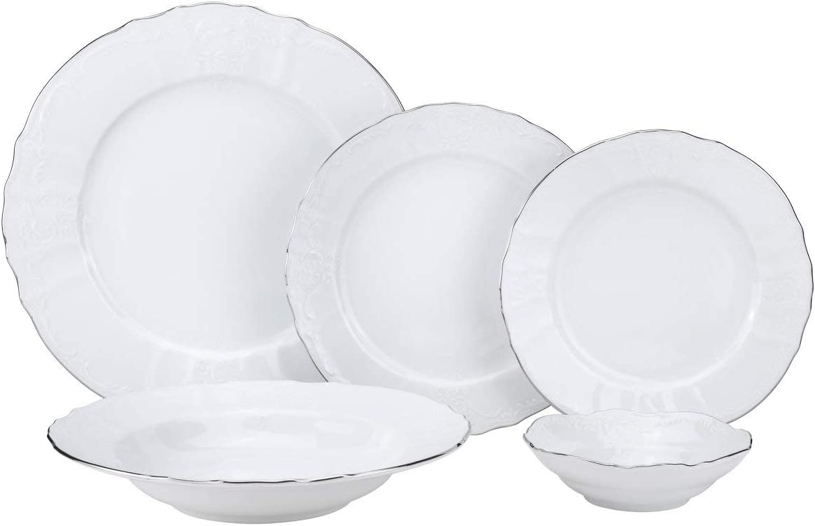 Royalty Porcelain Antique 20-pc Dinnerware Set 'Bernadotte White Platinum', Bone China Porcelain