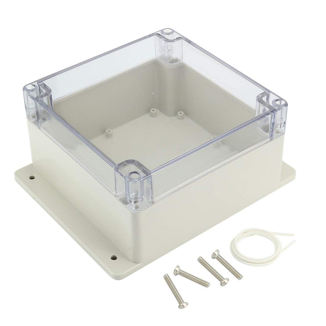 160mmx160mmx90mm ABS Junction Box Universal Project Enclosure w PC Transparent Cover sourcingmap 6.3x6.3x3.54