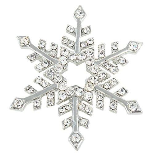 (EVER FAITH Austrian Crystal Elegant Winter Snowflake Star Brooch Pin Clear Silver-Tone)