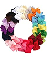 "20pcs 3"" Boutique Hair Bows Girls Kids Children Alligator Clip Grosgrain Ribbon Headbands 20 Color"