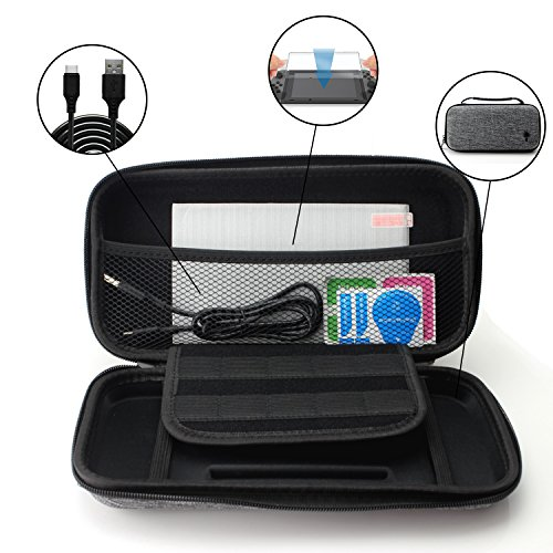 iLumenX Nintendo Switch Hard EVA Travel Carrying Case with 10 Game Cartridge Holders, Tempered Glass Screen Protector, and Fast Charging USB Cable | Case & Accessories Bundle