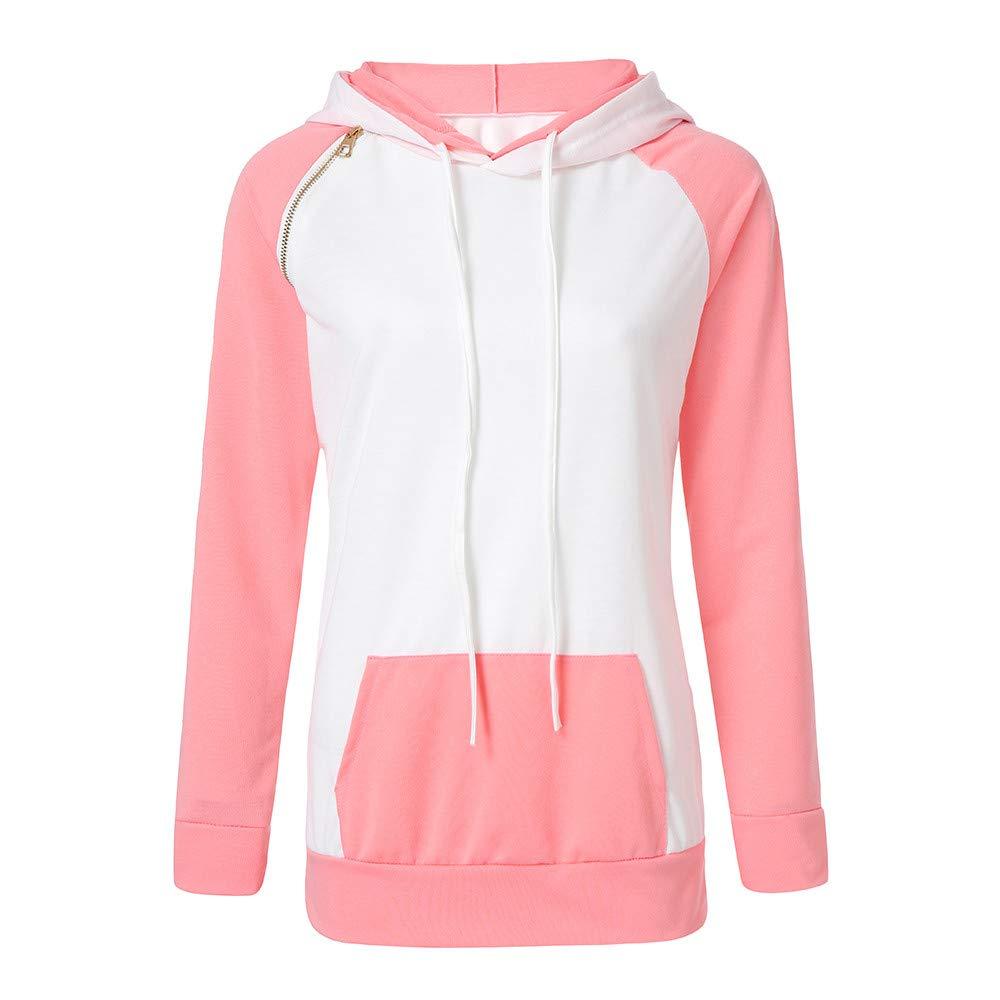 Sannysis Women Autumn Long Sleeve Pocket Patchwork Hooded Sweatshirt Pullover Tops Blouse, Pink XL
