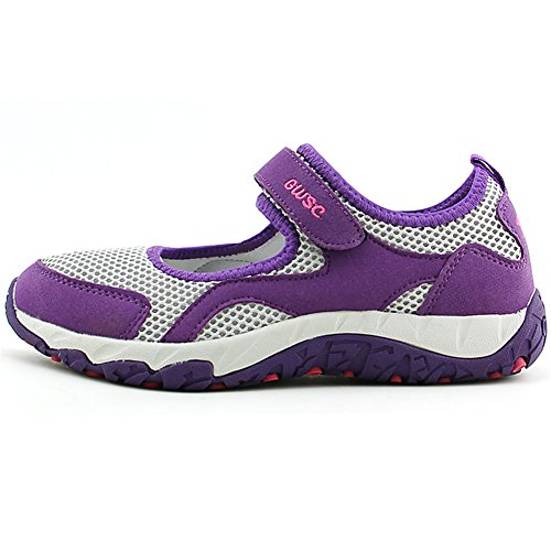 Scurtain Womens Old Aged Casual Non-Slip Walk Velcro Breathable Flats Sneaker Shoes Purple Gray R5YG5R