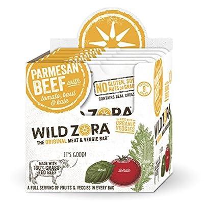 Wild Zora - Parmesan 100% Grass Fed Beef & Organic Veggie Bars - Gluten-Free - No Antibiotics or Added Hormones (10-Pack)