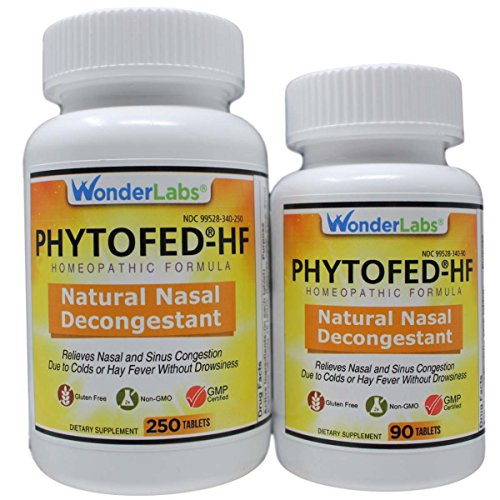 Sinus Relief Nasal Decongestant PHYTOFED-HF Natural Nasal Decongestant - 340 Total Tablets #3402