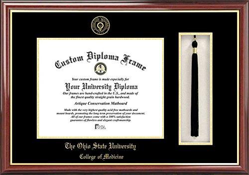 Laminated Visuals Ohio State University College of Medicine Buckeyes - Embossed Seal - Tassel Box - Mahogany - Diploma Frame