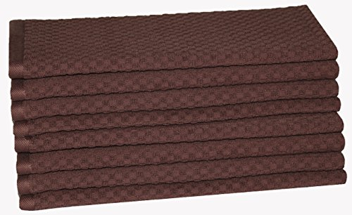 Chocolate Dish - Cotton Craft - 8 Pack - Euro Cafe Waffle Weave Terry Kitchen Towels - 16x28 Inches - Chocolate - 400 GSM quality - 100% Ringspun 2 Ply Cotton - Highly Absorbent Low Lint - Multi Purpose