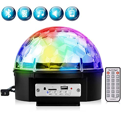YouOKLight 9 Color LED Disco Ball Party Lights Strobe Light 18W Sound Activated DJ Lights Stage Lights for Club Party Gift Kids Birthday Wedding Decorations Home Karaoke Dance Light (with Remote)]()