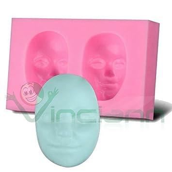 Vinciann - Molde de silicona en 3D con forma de rostro de mujer, para pastas