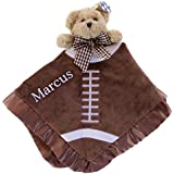 PERSONALIZED Monogrammed Embroidered Touchdown football Snuggler Plush Velour Security Blanket~ Make it Special!