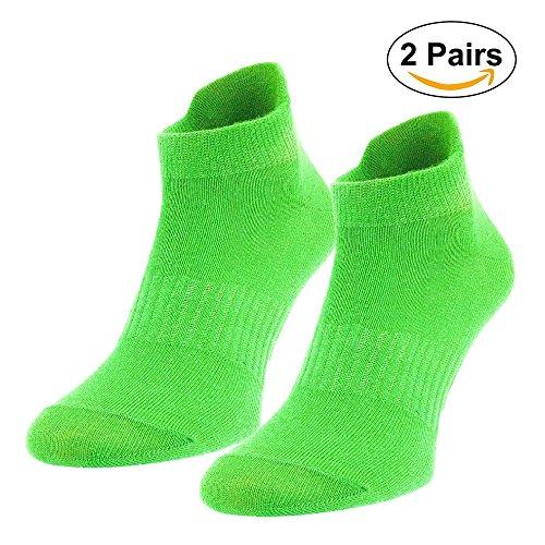 Mo Ko Ko   2 Pairs Quarter Ankle Crew Unisex Mens Womens Sport Socks Cotton Low Cut   No Show  Lime  9 12