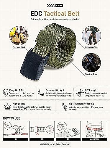 Military Style Nylon Webbing EDC Metal Buckle CQR Tactical Belt Heavy Duty Belt