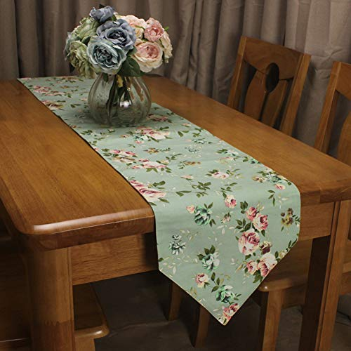 ROGEWIN Table Runners Beautiful Green Roses Flowers Cotton Pastoral Hotel Home Restaurant Decorative Simple Plain Decor]()