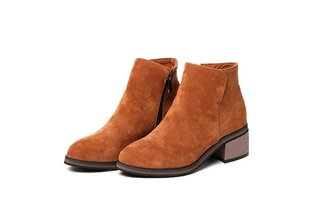 BalaMasa Womens Casual Slip-Resistant Comfort Suede Boots ABL10468