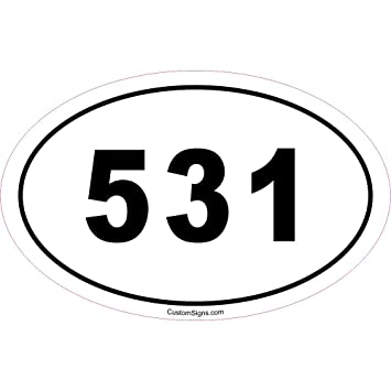 Amazoncom Area Code Bumper Sticker For Car Automotive - Area code 531
