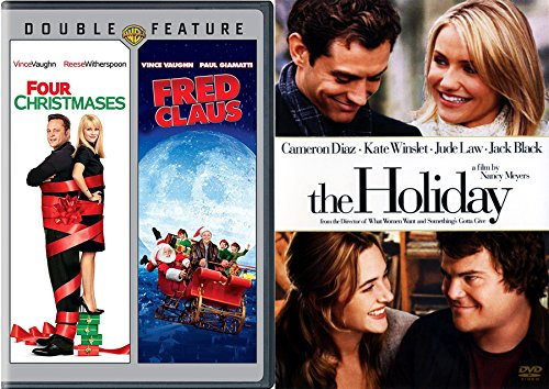 The Holiday & Fred Clause + Four Christmases Vince Vaughn Christmas 3 Pack holiday Triple feature Movie