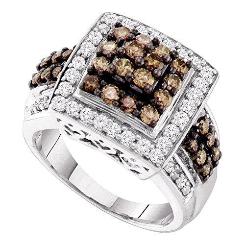 (Sonia Jewels Size 6-10k White Gold Round Chocolate Brown Diamond Square Cluster Ring 1-1/2 Cttw)