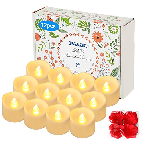 IMAGE Flameless Flickering Tealight Candles with Decorative Fake Rose Petals (Flickering Warm White NO Timer)