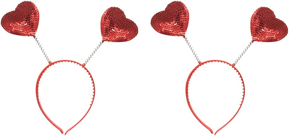 Amosfun 2pcs Head Boppers Martian Antenna Headbands Sequin Heart Hairband for Xmas Wedding Party Favors Gifts Costume Accessory