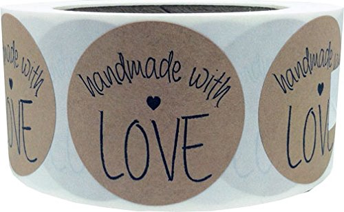 2 Inch Round Handmade With Love Natural Kraft Stickers with Black Font | 500 Total Adhesive Labels