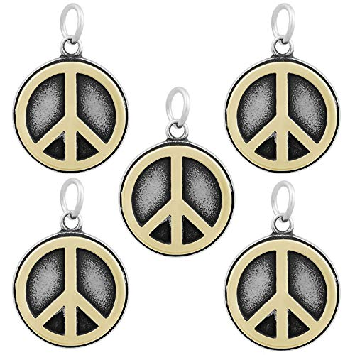 Flat Round with Peace Sign Design Tibetan Style Antique Golden 316 Stainless Steel Charms/Pendants