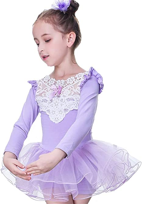 Insun Niña Vestidos de Danza Manga Larga Maillots de Ballet Encaje ...