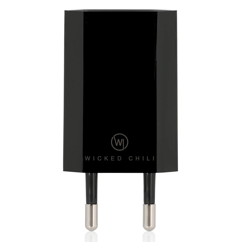 Wicked Chili - Cargador con Conector USB para Apple iPhone 6/6 / 5C / 5S / 5 / 4S / 4 / 3GS, iPod Nano/Touch/Shuffle (1000 mA, 100-240 V) Negro