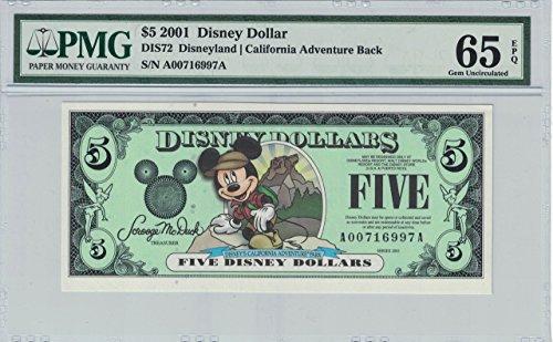 Disney Dollar 2001 A $5 Backpack Mickey A00716997A.PMG 65 EPQ Gem (Pmg 65 Gem)