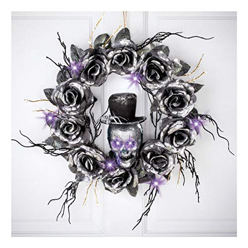 "16"" Dia. Lighted Skull with Black Roses Halloween Door/Wall Wreath from Unknown"