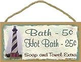 Lighthouse Bath 5 Cents Soap And Towel Extra Bathroom Bath Decor 5''x10'' Sign