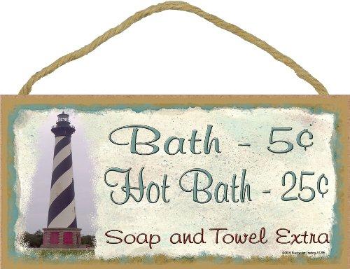 Bath Lighthouses (Lighthouse Bath 5 Cents Soap And Towel Extra Bathroom Bath Decor 5
