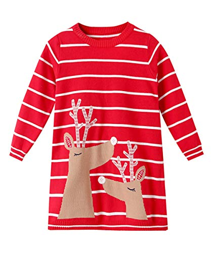 SMILING PINKER Little Girls Christmas Dress Reindeer Snowflake Xmas Gifts Winter Knit Sweater Dresses (4-5T, red 2) -