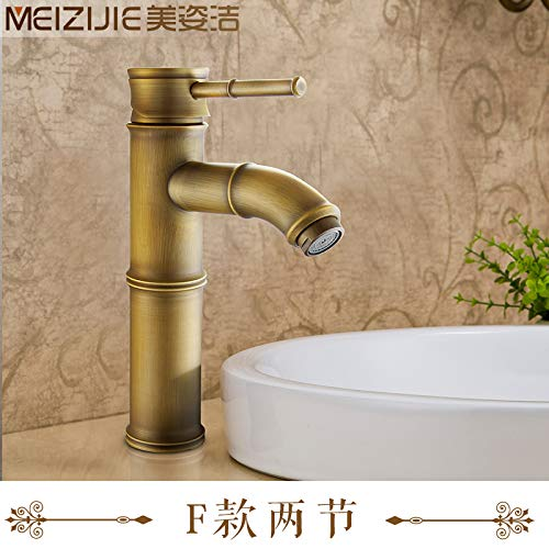 F) 2-80 Cm Hose Hlluya Professional Sink Mixer Tap Kitchen Faucet Antique basin faucet antique solid brass basin faucet basin cold water tap bamboo section I, paragraph 2, 80CM Hose