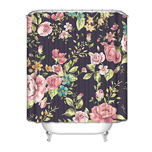 HGOD DESIGNS Roma Style Shower Curtain with Lush Flowers and Leaf, Floral Paisley Waterproof Shower Curtain, 60 Inches X 72 Inches, Purple