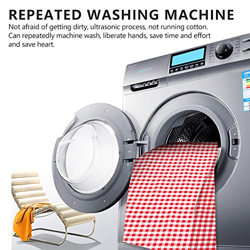 CHANODUG Machine Washable Extra Large Picnic & Beach Blanket Handy Mat Plus Thick Dual Layers Sandproof Waterproof Padding Portable for The Family, Friends, Kids, 79''x79'' (Red and White)
