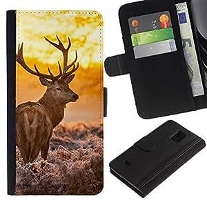 JackGot ( Resplandeciente ciervos ) Samsung Galaxy S5 Mini (Not S5), SM-G800 la tarjeta de Crédito Slots PU Funda de cuero Monedero caso cubierta de piel