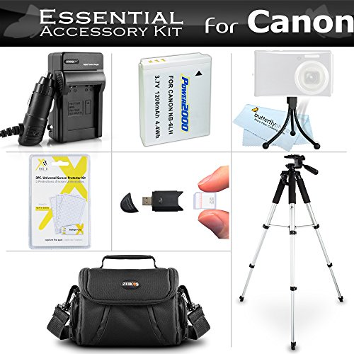 Essential Accessories Bundle Kit for Canon PowerShot SX170 is, SX520 HS, SX530HS SX530 HS, SX540 HS Digital Camera Includes Replacement (1200maH) NB-6L Battery + Charger + Case + 57 Tripod + More