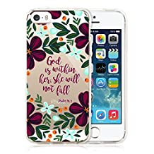 iPhone SE Case,Christian Quote God Is within Her,She Will Not Fall Clear Soft TPU Shock-Proof Protective Case