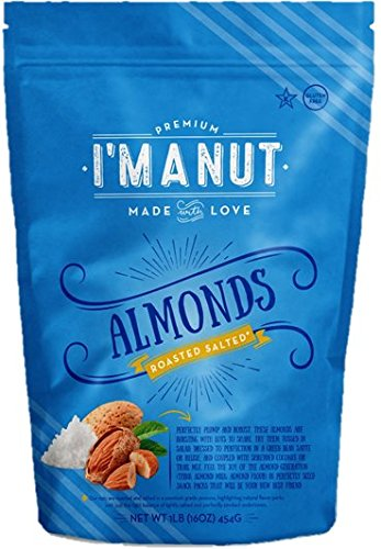 Almonds Roasted Salted 1 lb Resealable bag - I'm A Nut