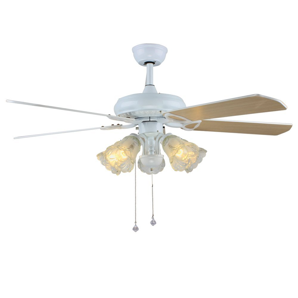 Tropicalfan White Vintage Ceiling Fan With 3 Glass Light Cover And 5 Reversible Wood Blade Decorative Fans Chandelier 52 Inch For Living Room Bedroom