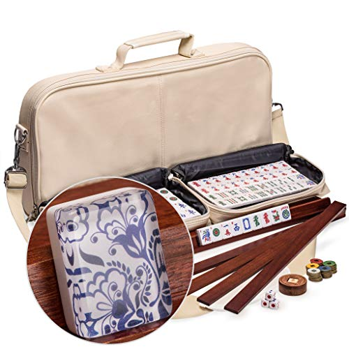 Yellow Mountain Imports American Mahjong Set, Chinoise with 166 Tiles, 4 All-in-One Racks with Pushers, Accessories, and Soft Leatherette Case (Coin Gold Set Dragon)