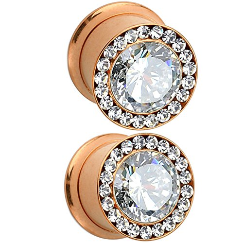 Pair of Clear CZ Center & Paved Rim Ear Plugs Tunnels Rose Gold-Tone PVD Steel (Internally Threaded) - 00G (10mm)