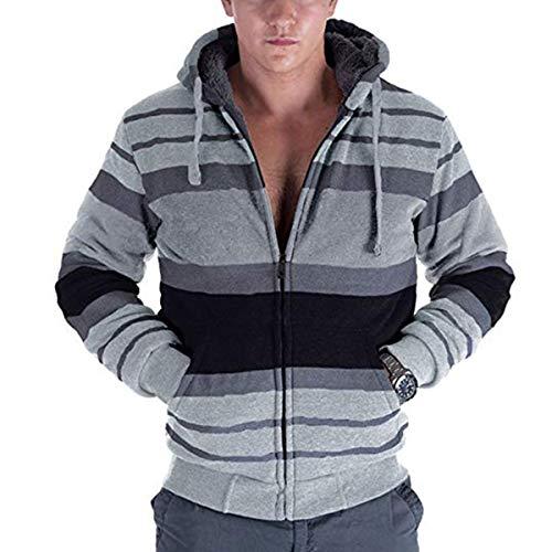 Zip Hoodie Mens Stripe Heavyweight Blend Sherpa Lined Casucal Sweatshirts (Large, Light Gray)