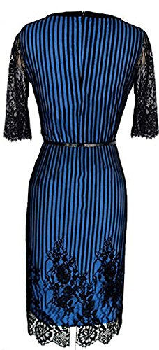 Mistere Hot Womens Fashion Half Sleeve Lace Sexy Party Pencil Skirt BlueMedium