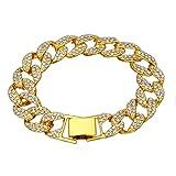 Hot Full Diamond Men's Bracelet Cuba Europe and America Popular Hiphop Golden