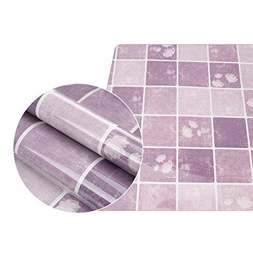 C-Pioneer Self-adhensive Anti Oil Waterproof Wall Stickers Home Decor Bathroom Kitchen Backsplash Tiles (Purple) (Tile Purple)
