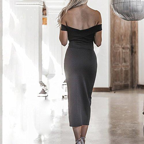 Nu Confort Casual Dbardeur Haut Femme Jolisson Epaule Mode Simple Robe Bureau Fille Uni Mi longue Dress Soire Vacances Et Fente Jupe Noir aqP6XwFqz